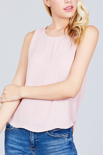 Sleeveless round neck back button detail woven top-id.cc38851