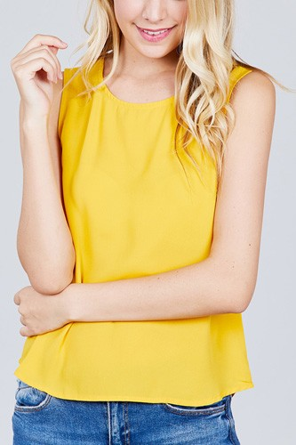 Sleeveless round neck back button detail woven top-id.cc38851c