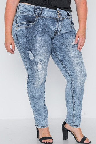 Plus size dark denim distressed skinny jeans-id.cc38852