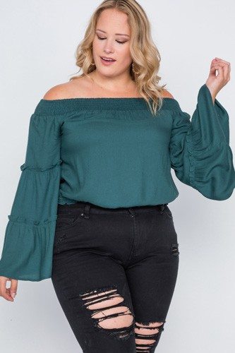 Plus size off-the-shoulders bell sleeve top-id.cc38854b