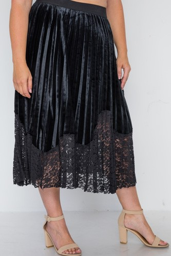 Plus size black velvet pleated lace hem midi skirt-id.cc38855