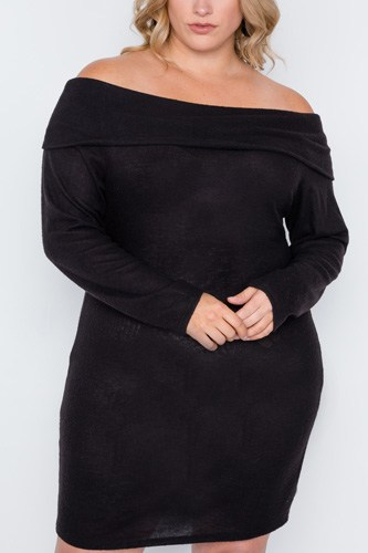 Plus size black off-the shoulder long sleeve dress-id.cc38857