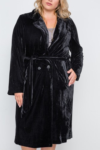 Plus size velvet long sleeve trench coat-id.cc38858