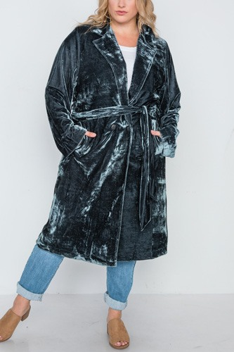 Plus size velvet long sleeve trench coat-id.cc38858a