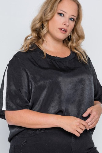 Plus size color block short sleeve top-id.cc38859a