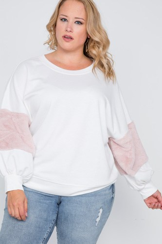 Plus size faux fur pink sleeves sweater -id.cc38860a