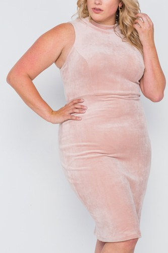 Plus size sleeveless bodycon soft midi dress-id.cc38861a