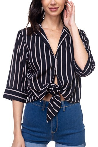 Stripe knot top shirt-id.cc38867