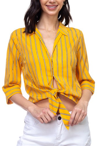 Stripe knot top shirt-id.cc38867b