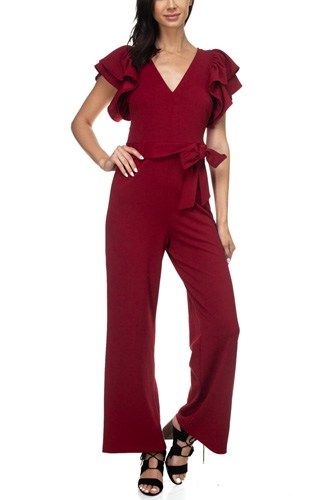 Ruffle sleeve v-neck jumpsuit-id.cc38870a