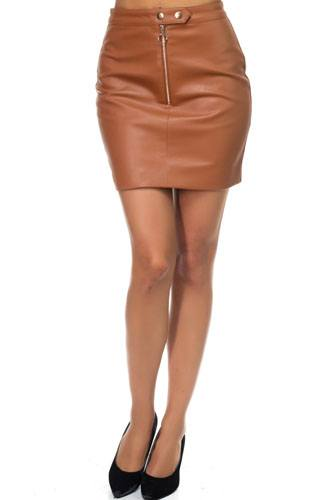 Faux leather o-ring zipper up skirt-id.cc38871