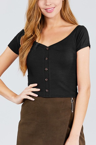 Short sleeve off the shoulder neckline button down rayon spandex rib knit top-id.cc38873a