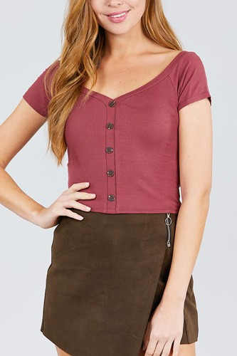 Short sleeve off the shoulder neckline button down rayon spandex rib knit top-id.cc38873b