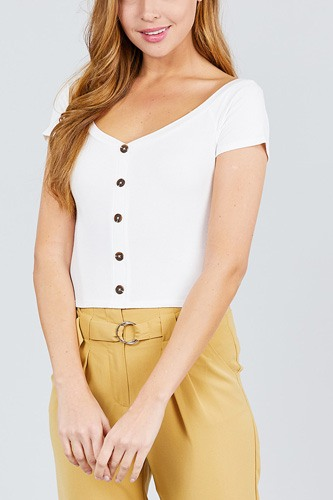 Short sleeve off the shoulder neckline button down rayon spandex rib knit top-id.cc38873c