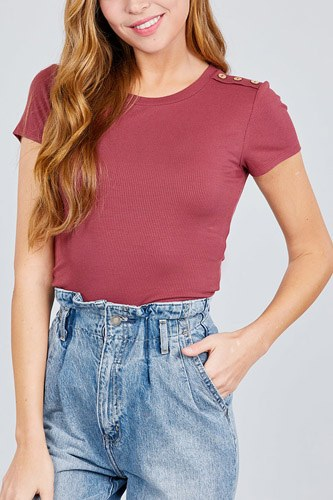 Short sleeve round neck w/shoulder button down rayon spandex rib knit top-id.cc38875