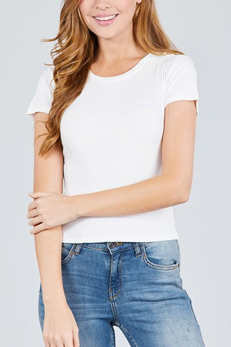 Short sleeve round neck w/shoulder button down rayon spandex rib knit top-id.cc38875d