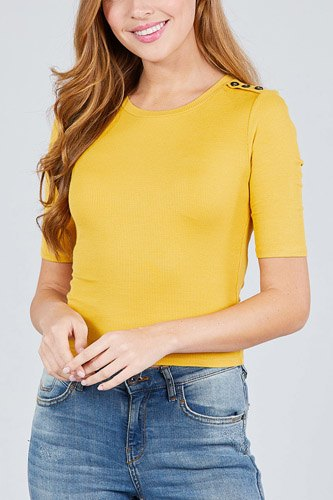 Elbow sleeve crew neck w/shoulder button detail rib knit top -id.cc38876b