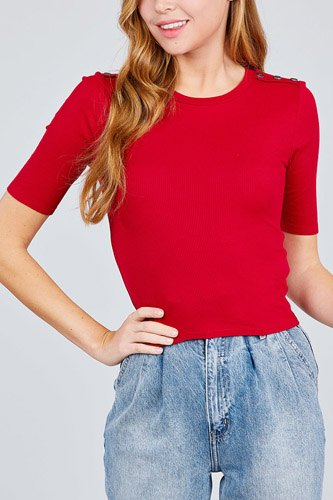 Elbow sleeve crew neck w/shoulder button detail rib knit top -id.cc38876e