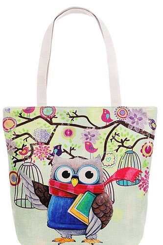 Cute owl print canvas tote bag-id.cc38880