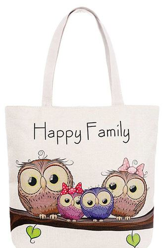 Cute 4 owl happy family cartoon print canvas tote bag-id.cc38882