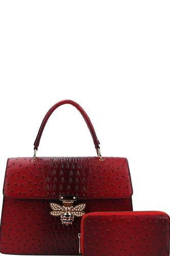 Stylish insect buckle satchel with matching wallet -id.cc38885