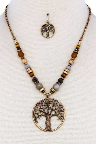 Trendy bead and tree pendant necklace and earring set-id.cc38890