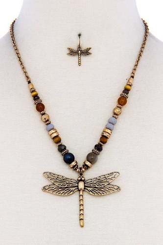Fashion bead dragonfly pendant necklace and earring set-id.cc38891