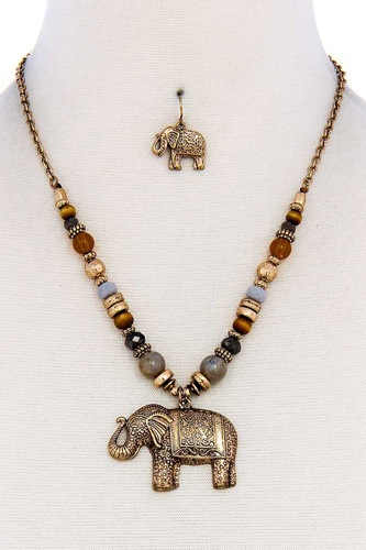 Designer trendy elephant pendant necklace and earring set-id.cc38892