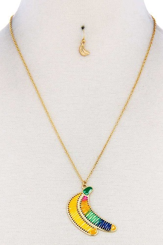 Fashion stitch banana pendant necklace and earring set-id.cc38893