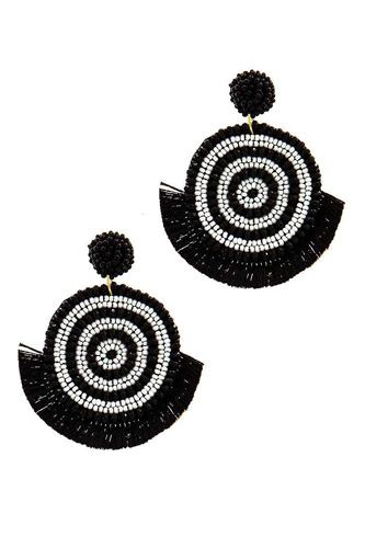 Chic multi bead and fan tassel earring-id.cc38898