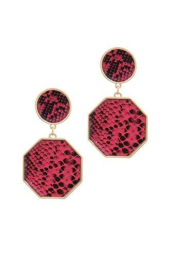 Snake pattern octagon shape post drop earring-id.cc38902