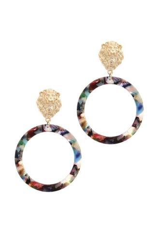 Acetate ring lion linked drop earring-id.cc38903