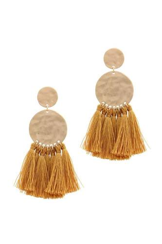 Double hammered circle tassel drop earring-id.cc38904