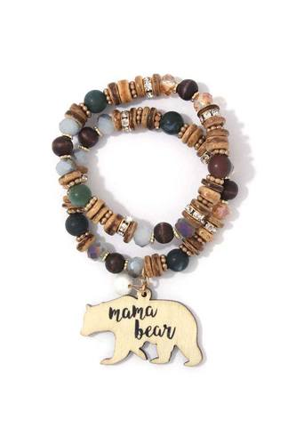 Mama bear charm beaded stretch bracelet set-id.cc38910