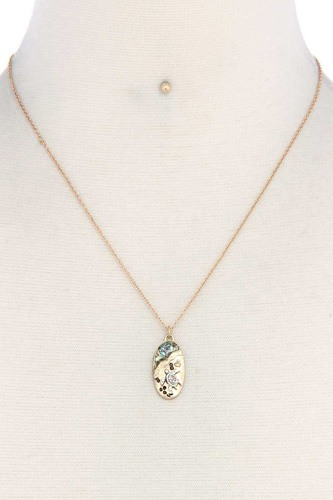 Sea turtle oval shape necklace-id.cc38921