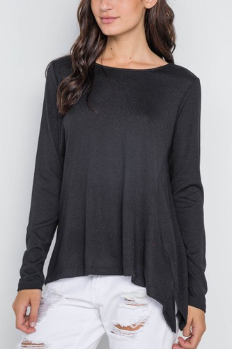 Black long sleeve solid asymmetrical sweater-id.cc38928