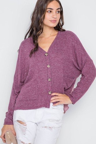 Berry long sleeve knit button-front combo cardigan-id.cc38930