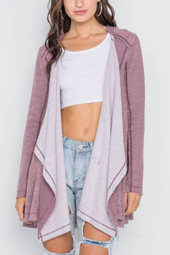 Mauve knit draped front long sleeve cardigan-id.cc38936
