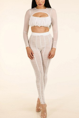 Shirred mesh top & ruched mesh leggings set-id.cc38940