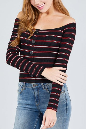 Long sleeve off the shoulder neckline button down multi stripe rib knit top-id.cc38953a