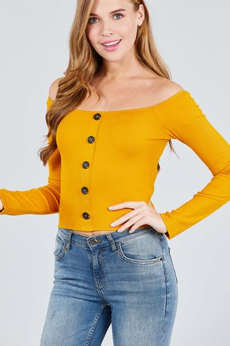 Long sleeve off the shoulder button down rayon spandex rib knit top-id.cc38954a