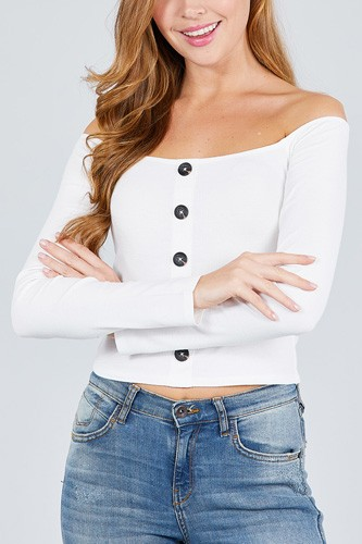Long sleeve off the shoulder button down rayon spandex rib knit top-id.cc38954c