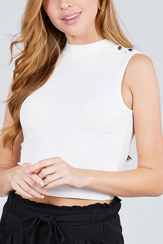 Sleeveless mock neck w/shoulder button detail rayon spandex rib crop knit top-id.cc38955
