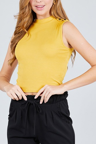 Sleeveless mock neck w/shoulder button detail rayon spandex rib crop knit top-id.cc38955b