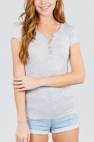 Short sleeve contrast henley neck stripe rayon spandex knit top-id.cc38956c