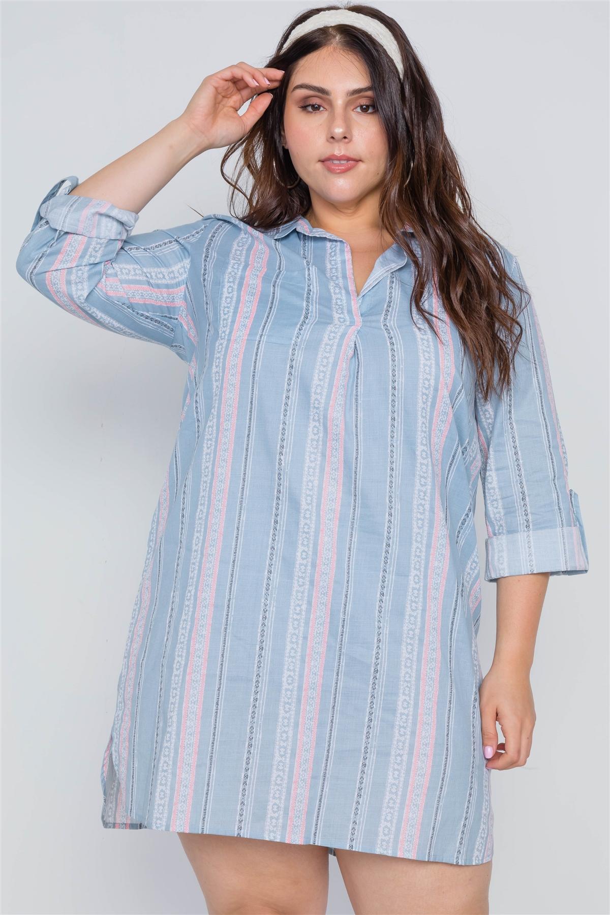 Plus size powder blue geo print shirt dress-id.cc38994