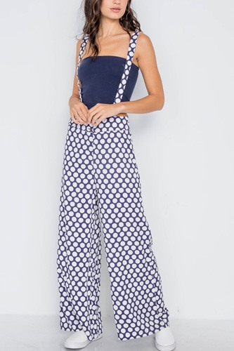 Navy white polka dot wide leg suspender pants-id.cc38970