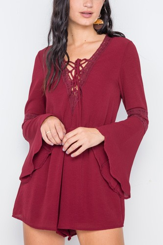 Crochet bell sleeve lace-up romper-id.cc38971a