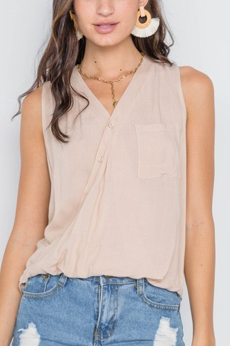 Taupe surplice neck button front sleeveless top-id.cc38973