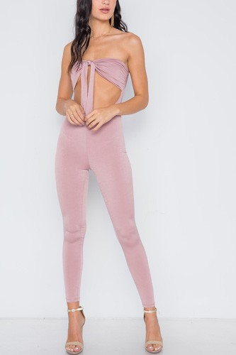 Front tie cut out skinny leg jumpsuit-id.cc38976